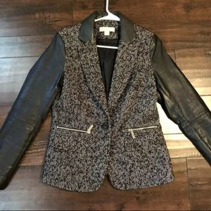 Michael Kors Jackets & Coats - Michael Kora MK Tweed Leather Sleeve Jacket Blazer